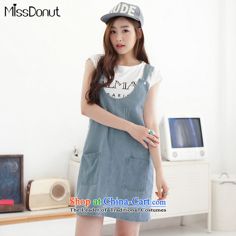 Missdonut2015 summer new extra cowboy strap skirt thick girls' Graphics thin, Korean version of CAMI skirt suits large blue dress code XL