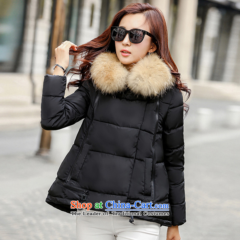 Cayman and Lai larger women2015 Fall/Winter Collections Of new women's Korean loose thick sister to intensify the graphics thin cotton coat jacket for the works on the Nagymaros black* 3XL recommendations 160-175 catty*