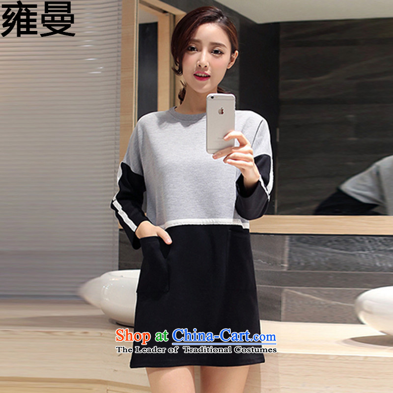 And Cayman 2015 autumn and winter new larger female Korean large round-neck collar women in long temperament wild skirt wear long-sleeved shirt Y9066 black XXL