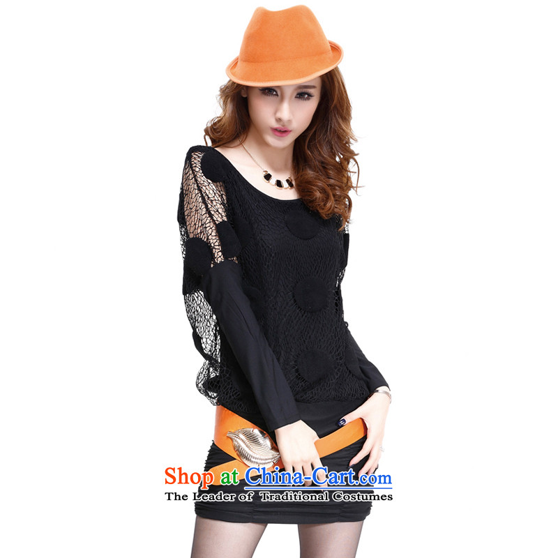 Cayman and Lai larger female thick sister to intensify the package and dresses thick Tien autumn and winter new women won two leave loose version bat sleeves black stomach video thin black  3XL