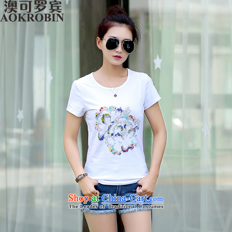 O Can RobinSummer 2015 new products for larger female personality stamp stylish short-sleeved to Ms. King T-shirt white 85-100 L recommendations seriously_