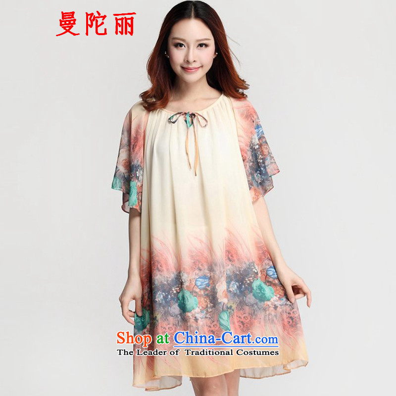 Cayman and Lai larger women's summer thick snow sister woven dresses2015 new products in a bow tie loose stamp long chiffon shirt skirts apricotXL
