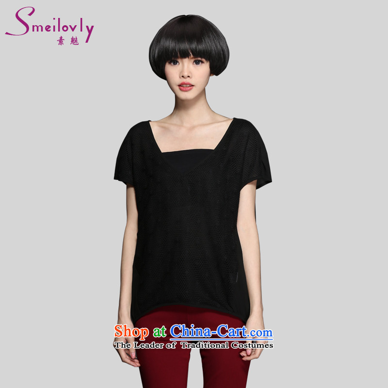 The Director of the 2015 Summer new 200 catties to increase women's code thick mm Korean short-sleeved engraving short-sleeved T-shirt, black large code 3XL 1343 around 922.747 160