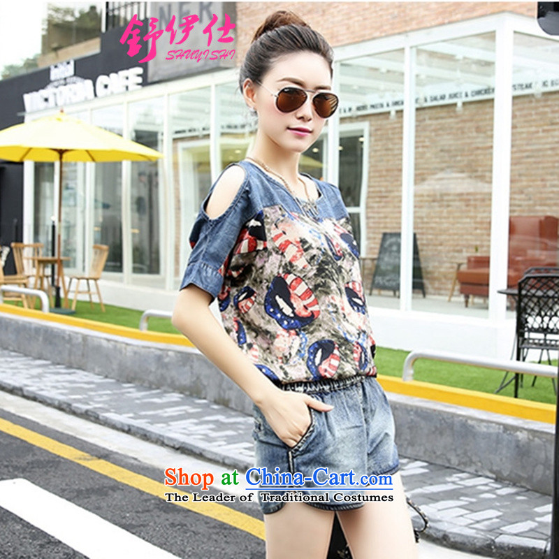 Schui Sze Trend Korean large relaxd chiffon stitching cowboy kit female bare shoulders, T-shirt pants and casual two kits street non-mainstream personalized picture color clothes summer sweetXL