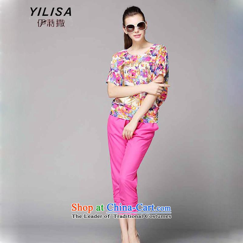 To increase the number YILISA Women's Summer fat mm summer saika short-sleeved T-shirt 200 catties Korean Capri Lounge Suite Y9082 rose red4XL