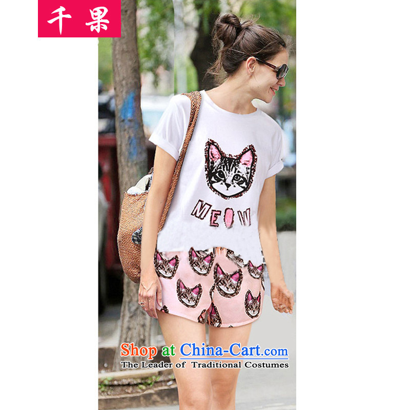 The results of the 2015 Summer thick sister to increase women's loose video decode thin kitten alike, short-sleeved T-shirt + Leisure shorts stamp kit366picture colorXXL