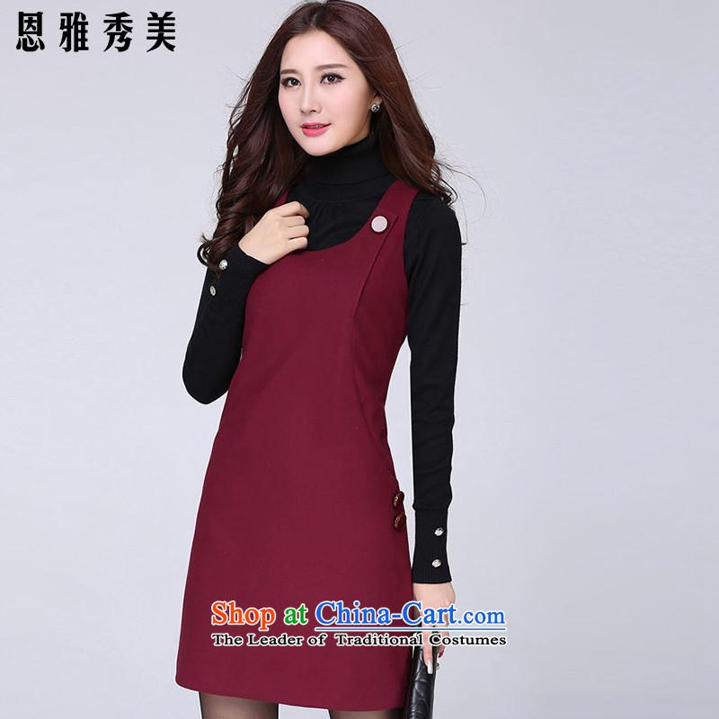 Eun-Ya Xiu 2015 autumn and winter new women's thick MM to xl Korean Sau San sweet sleeveless gross? vest dresses 81_燲XXXL wine red