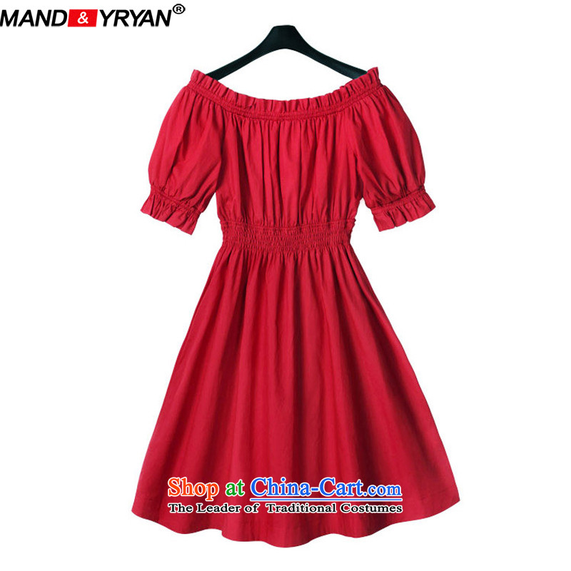 Mantile tu 2015 new larger women's summer to increase the burden on 200 MM dresses red MDR1539 XL