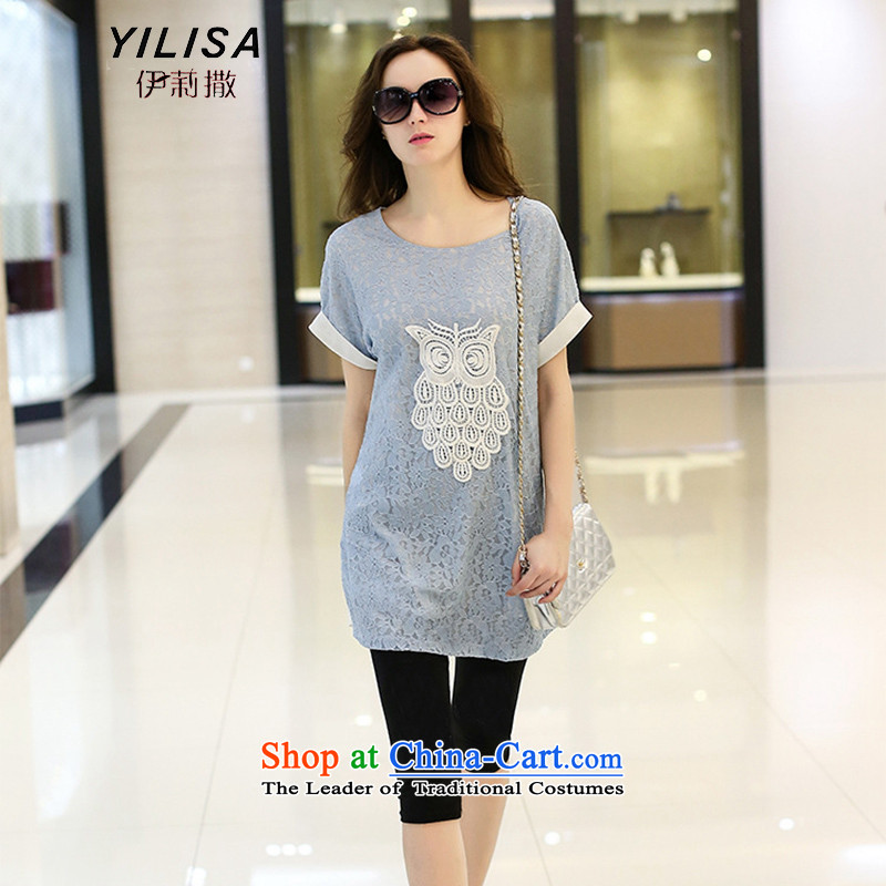 Large European and American women YILISA2015 summer load new t-shirt thick mm summer large stylish graphics thin lace engraving Y9090 T-shirt, blue�L