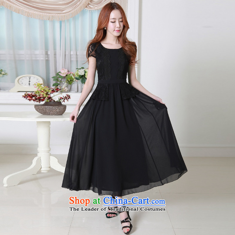 Summer 2015 MM thick thin large graphics Sau San female stylish chiffon lace skirt long skirt large-sin燲XXL black