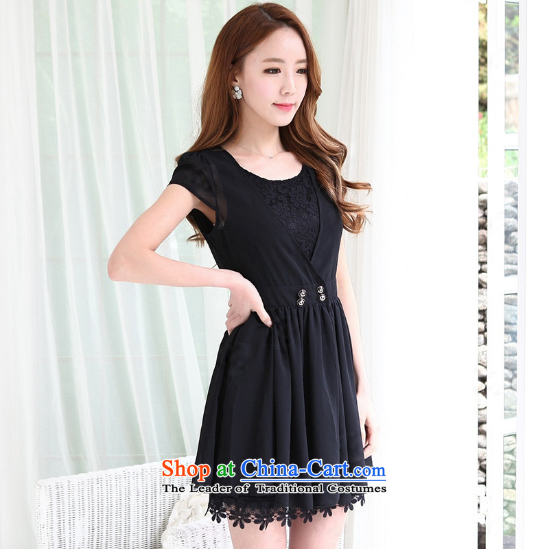 2015 Summer new graphics thin large Sau San female round-neck collar lace dresses two kits and more modern version of package black燤