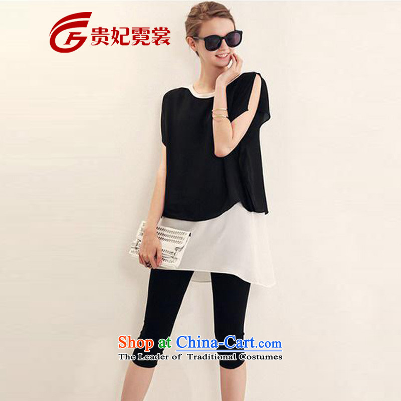 Tysan Gwi-XL ladies casual Kit 2015 Summer new thick mm video thin t-shirts are two leave 7 pants two kit 52045 Black燲L