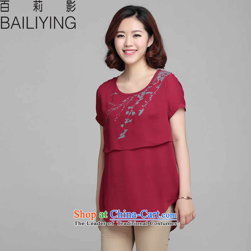 Hundred Li Ying�15 Summer new Korean version of large numbers of ladies summer loose short-sleeved T-shirt female video thin chiffon shirt wine red燤