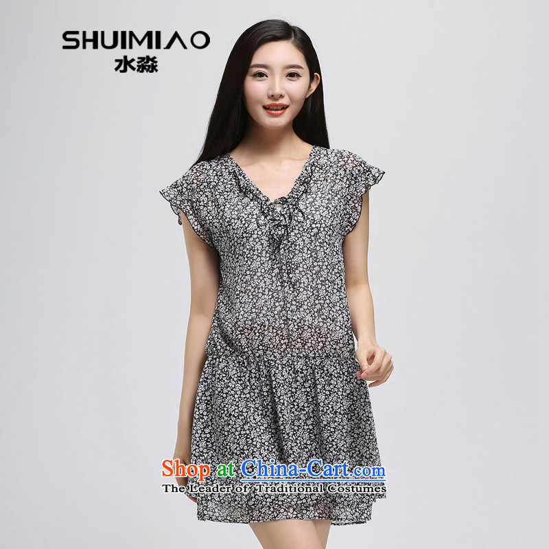 In the summer of 2015 by water new products 200 catties thick mm to xl chiffon dresses S15XY4954 female black and white flower燲L