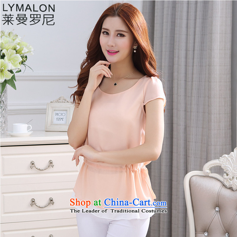 The lymalon Lehmann 2015 Summer code ladies casual video thin wild solid color edge on leave two chiffon Netherlands 1213 pink燲XL