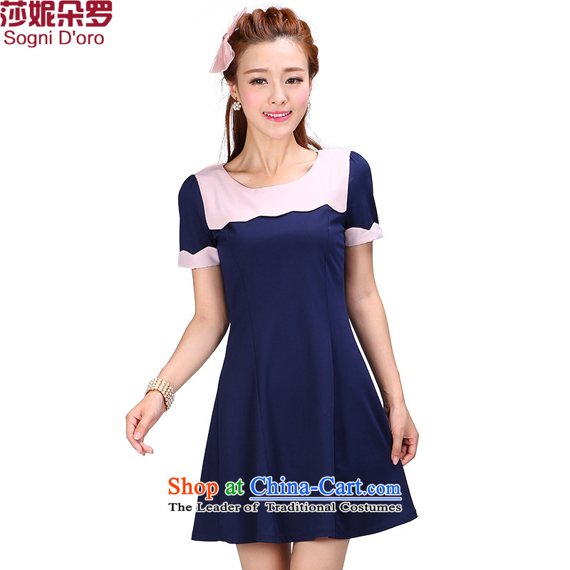 Luo Shani flower code women thick mm2015 summer New Solid Color round-neck collar short-sleeved splice video dresses 6776 Thin Dark Blue 5XL