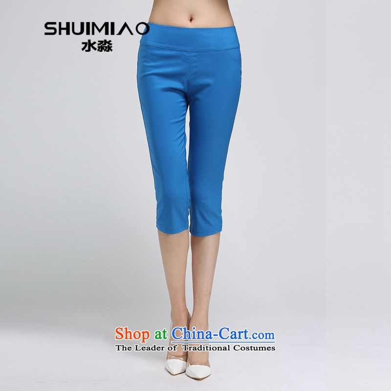 In the summer of 2015 by water New Product Code women four elastic Solid Color Capri pants S15XL5098 PO, female�L