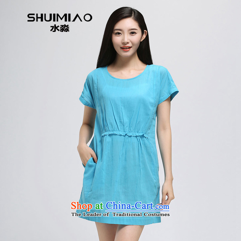 The representative of water by the year 2015 Women's new 200 catties larger female thick mm pure cotton short-sleeved dresses S15XY4927 2,005燲L