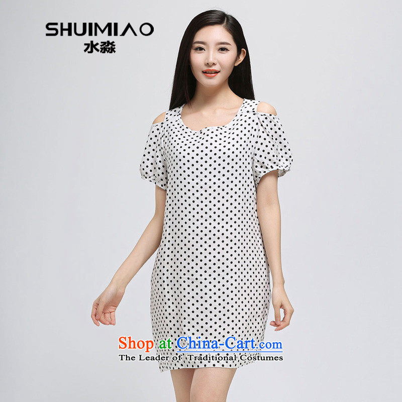 The representative of the water in the summer of 2015, the major new code women thick cotton linen mm bare shoulders short-sleeved dresses S15XY4920 female black & white point L