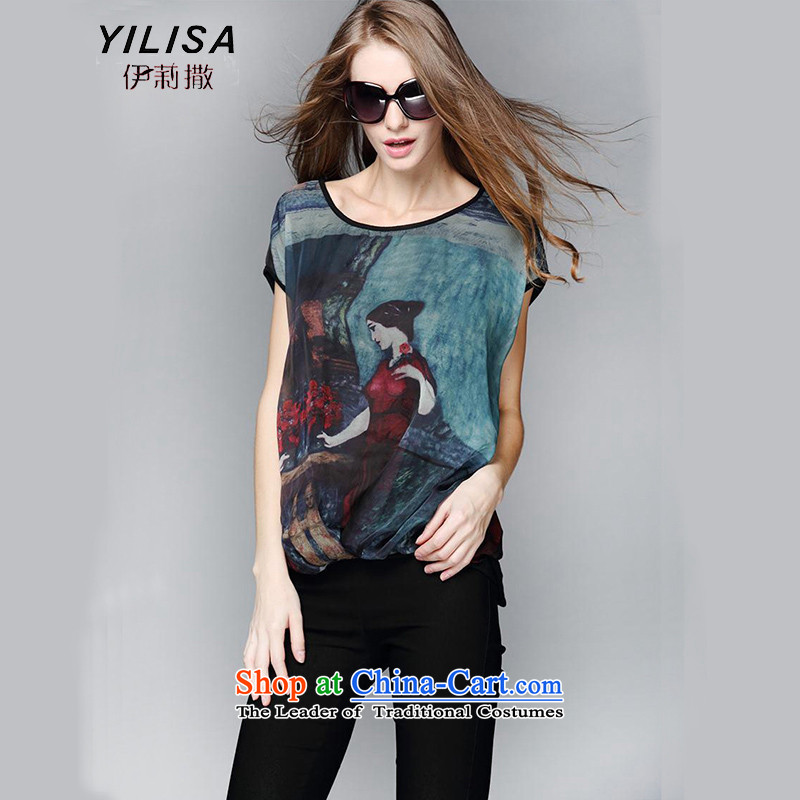 Elizabeth sub-large female summer new chiffon shirt t-shirt thick mm retro literary style chiffon t-shirt female short-sleeved T-shirt thin graphics-liberal Y9101 picture color L