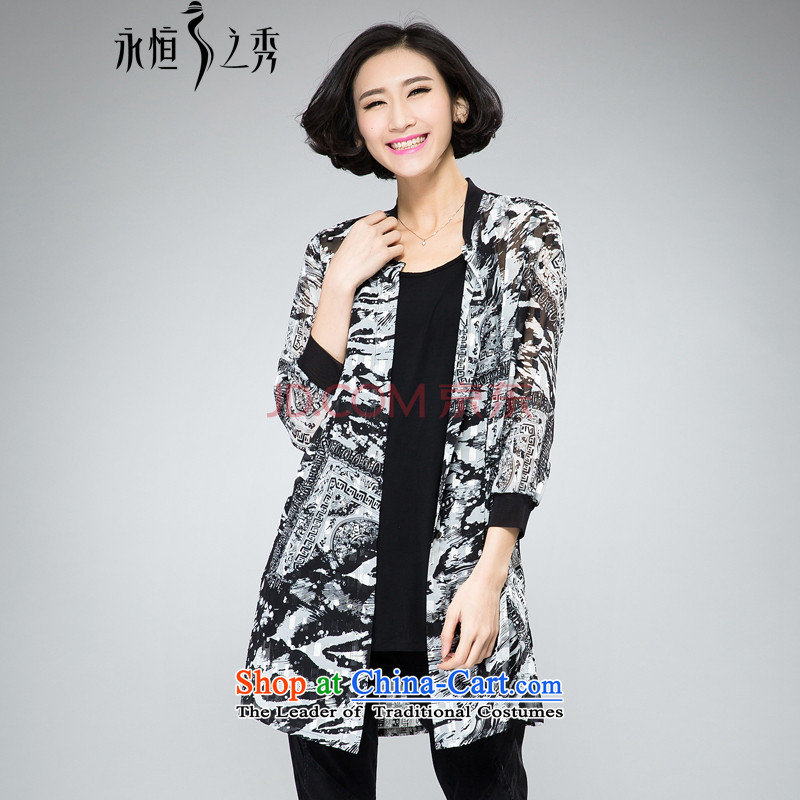 The Eternal-soo to xl female chiffon shirt thick sister 2015 Summer new product expertise, Hin thick mm thin gold wire of the stamp duty_ Cardigan shirt jacket�L Black