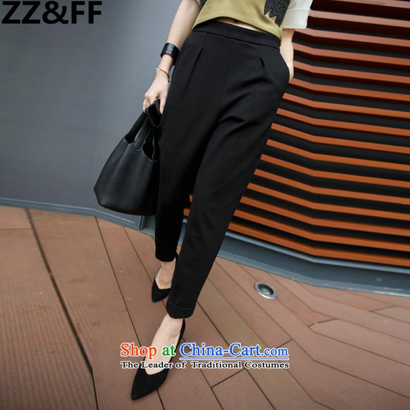 The new summer 2015 Zz_ff larger women's low_ thick MM XL Graphics thin 9 suit pants Harun leisure female loose castor燲XXXXL black