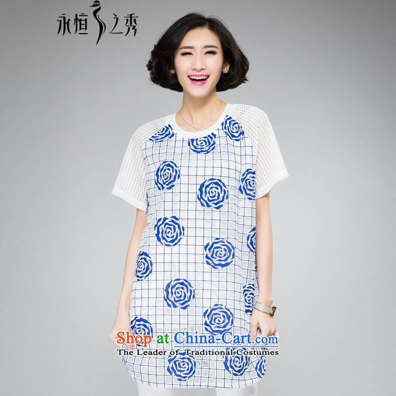 The Eternal Soo-To increase the number of women in the long summer 2015, t-shirts, Hin thick thin thick Korean version of the new SISTER rose blossoms relaxd stylish round-neck blue�L