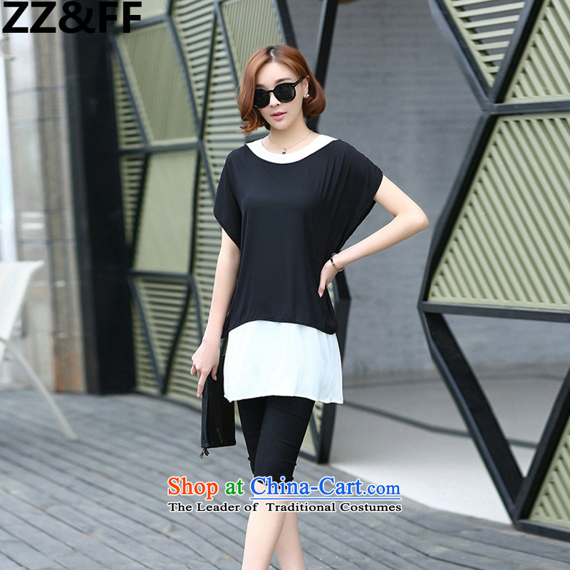 2015 European and American large Zz_ff Women's Summer thick mm leave two T-shirts are black trousers two-piece set with increased to two sets of picture color燲XXXL
