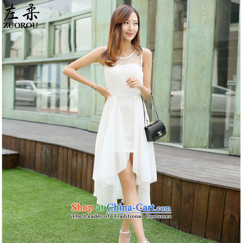 Left soft�  smart casual summer 2015 Korean resort sleeveless elegance dresses chiffon long skirt female white燣
