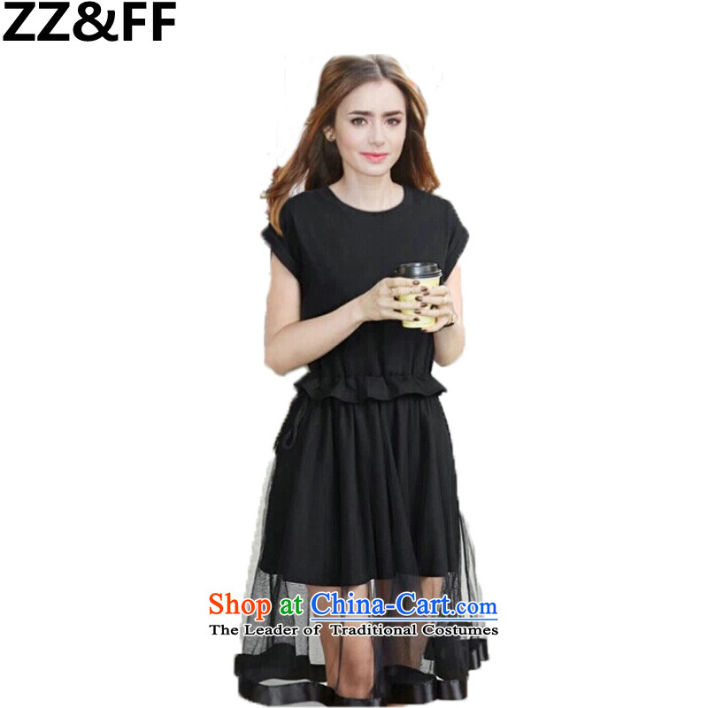 Large 2015 Zz_ff summer to intensify the long 200 catties thick mm short-sleeved western new dresses Black燲L