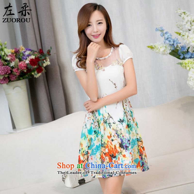 �  2015 Summer Sophie left Korea Edition Couture fashion stamp round-neck collar Top Loin of thin lady graphics gauze fluoroscopy chiffon dresses figure as the燲L