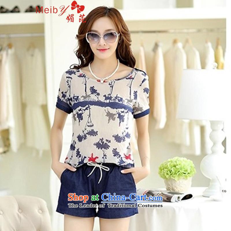Meiby summer female Kit Sleek and versatile large new two kits loose short-sleeved T-shirt chiffon shirt female shorts kit female�31爐ransparent燤
