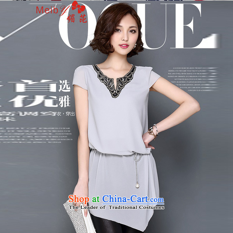 Sleek and versatile large meiby code summer female new V-neck in Sau San embroidery long loose large short-sleeved T-shirt chiffon 1520 M Gray