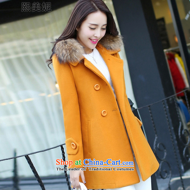 Hee-mei li 2015 winter clothing new larger women in mm thick long hair? female autumn and winter coats ore 736recommendations 146-156 4XL Yellow