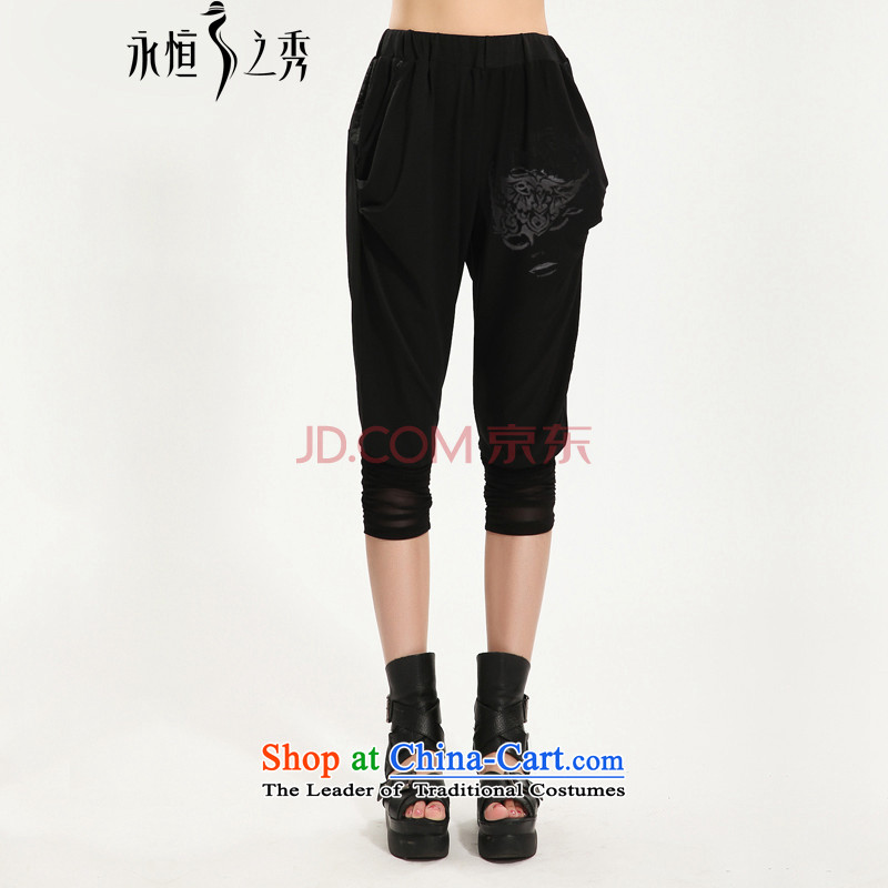 The Eternal Yuexiu Code women Capri thick sister 2015 Summer new thick mm thick, Hin thin stylish black in Korean waist video in Haran trousers thin black trousers 3XL
