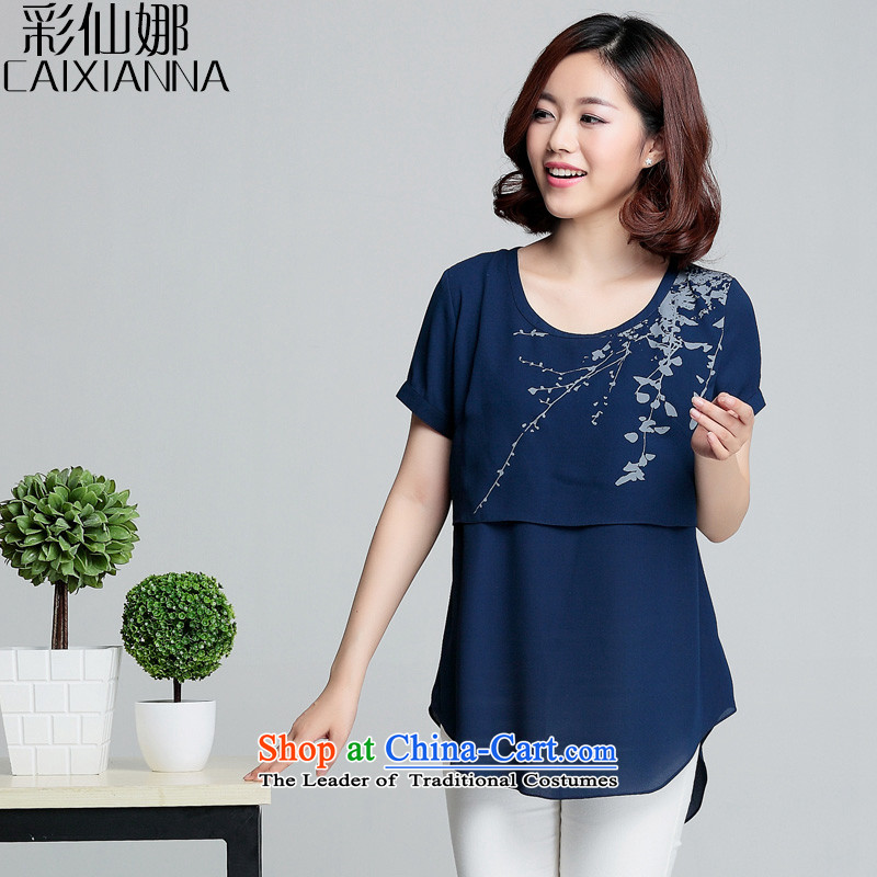 Also the�15 Summer sin new Korean version is smart casual relaxd stamp chiffon shirt female summer short-sleeved navy燤