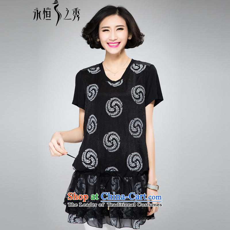The Eternal Yuexiu Code women's dresses for summer 2015 new product expertise, Hin thin new mm thick western style computer embroidery adjustable waist twine video thin black skirt 3XL
