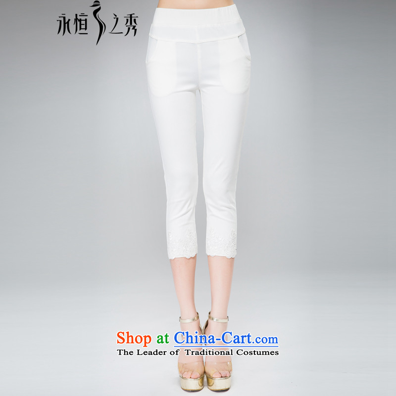 The Eternal-soo to xl female Capri thick sister 2015 Summer new thick mm thick, Hin thin wild lace hem leisure�L white pants