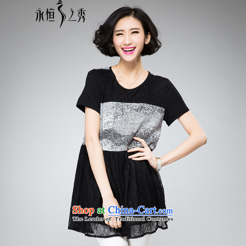 The Eternal-soo to xl women's dresses thick sister 2015 Summer new product expertise, Hin thick mm thin, The chiffon lace relaxd dress short-sleeved black燲L