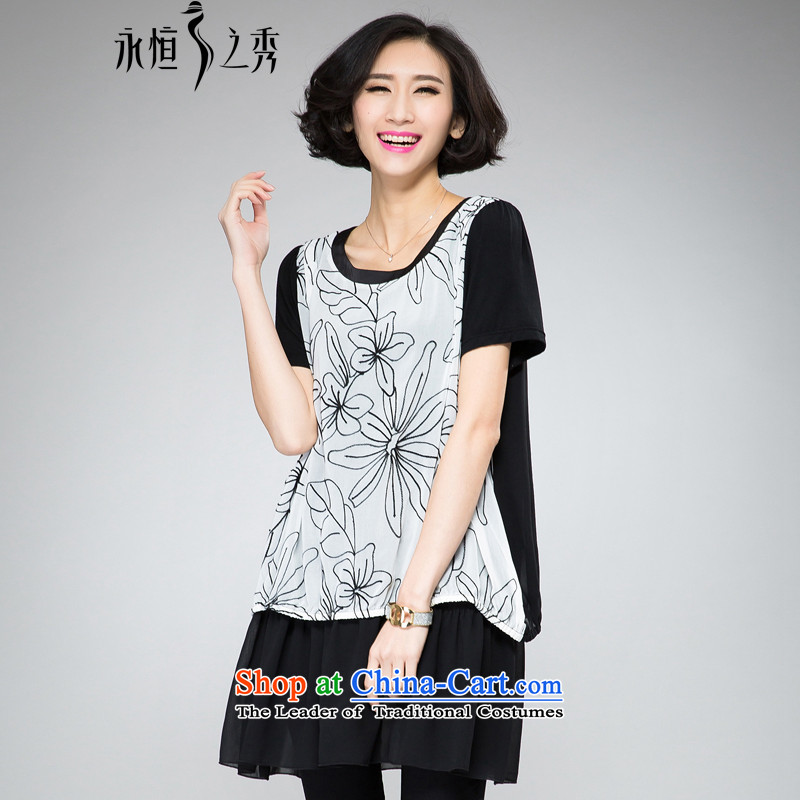 The Eternal Soo-thick mm larger women's dresses 2015 Summer new expertise, Hin thin, ultra chiffon flowers computer embroidery leave two T-shirts dress with black�L