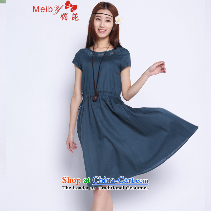 Sleek and versatile large meiby code of ethnic cultural new large relaxd graphics thin women short-sleeved linen cotton linen dresses聽 5250聽dark blue聽L