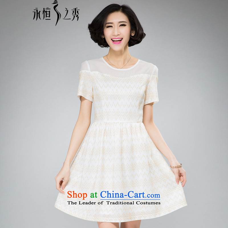 The Eternal Soo-thick, Hin thin, large women's dresses 2015 Summer new thick sister Korean sweet OSCE root yarn stamp graphics thin A field petticoats dresses m White�L