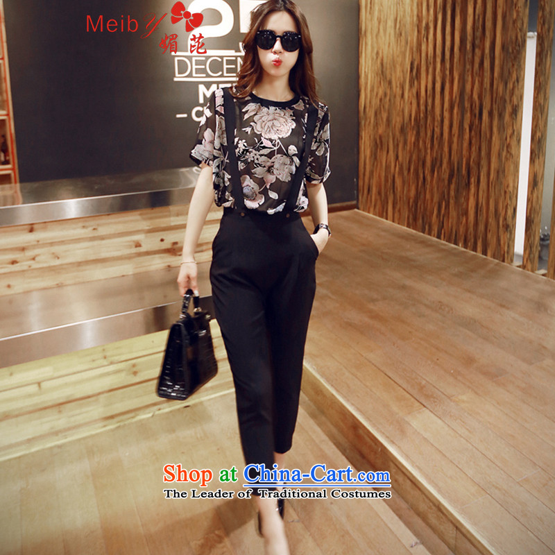 Sleek and versatile large meiby code spring and summer new Western Wind stamp chiffon shirt + Video thin strap casual pants�306 OCS燘lack燲L