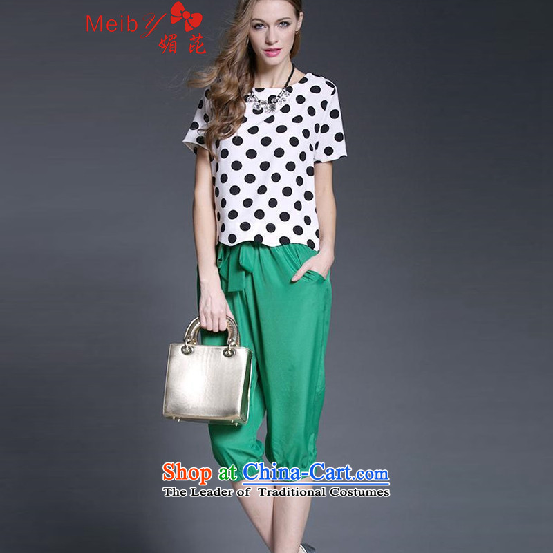 Large meiby Women's Summer Fat MM new retro dot chiffon shirt Harun Capri two kits�52燾olor photo spot燲L