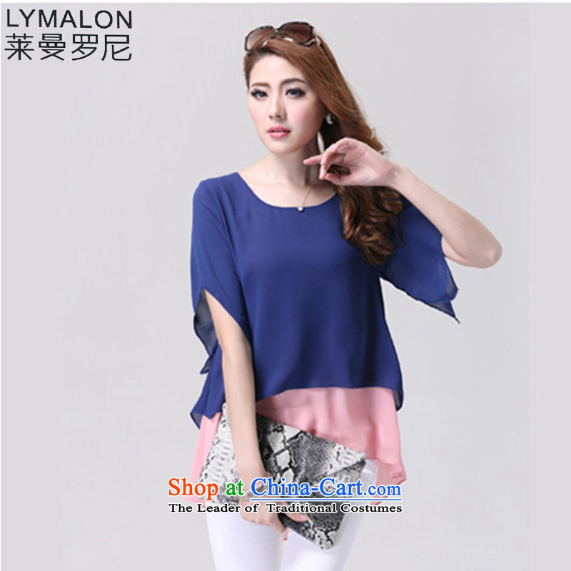 The lymalon lehmann thick, Hin thin 2015 Summer new larger women leave two color plane collision 5xl bat sleeves chiffon Netherlands9012 5XL blue