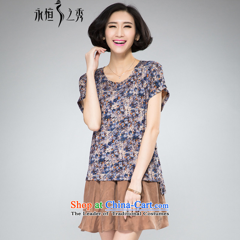 The Eternal-soo to xl women's dresses 2015 Summer thick, Hin thin new thick sister 200 catties loose leave two small fresh floral dress with map color燲L