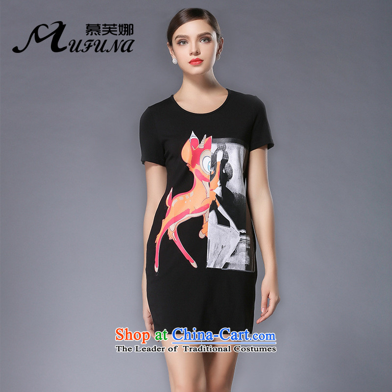 Improving access of 2015 Summer new mm thick larger female popular cartoon character stamp short-sleeved round-neck collar dresses 3362 Black - Sorok XL