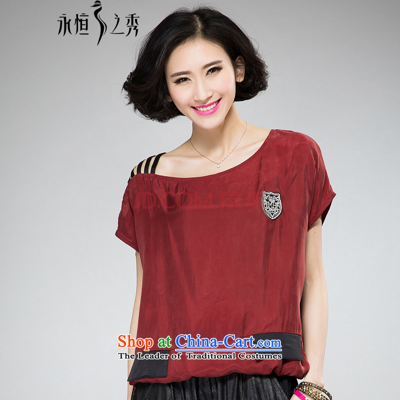 The Eternal-soo to xl t-shirts 2015 Summer thick mm thick, Hin thin new stylish sexy bare shoulders chest short-sleeved T-shirt relaxd chapter bourdeaux�L