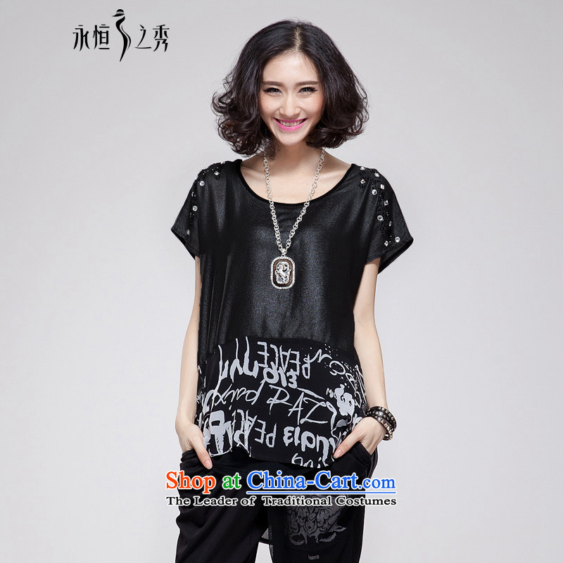 The Eternal-soo to xl female chiffon shirt thick sister 2015 Summer new product expertise, Hin thick mm thin, long loose stamp in t-shirt leave two black large are code