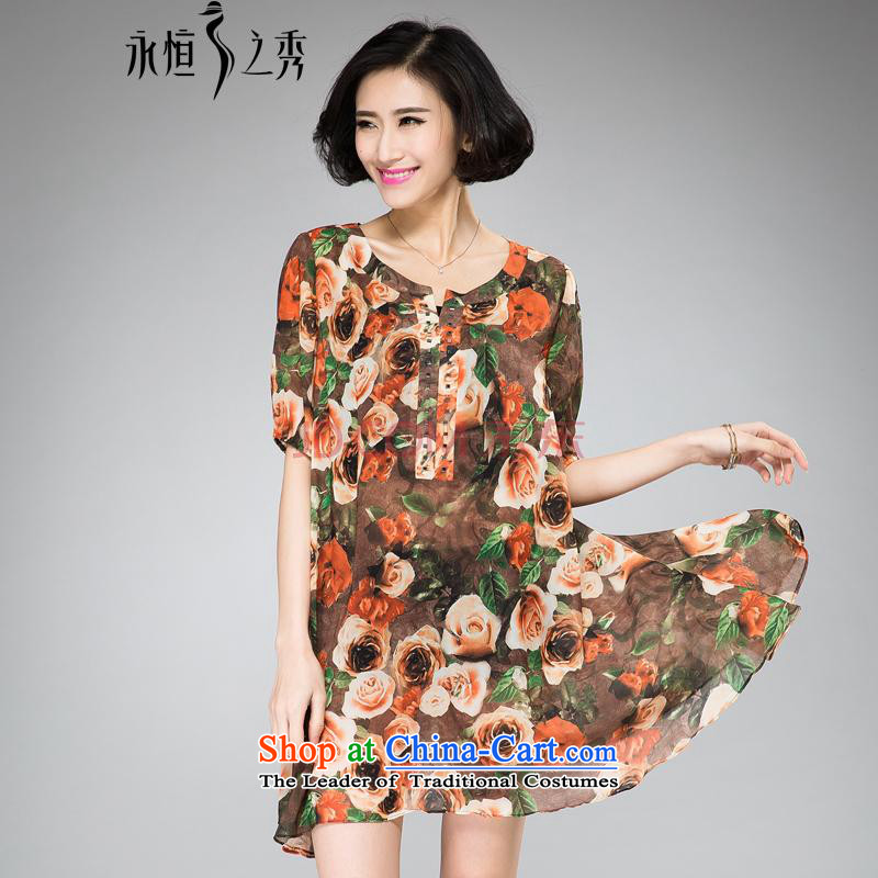 The Eternal Yuexiu Code women's summer dresses thick sister thick, Hin thin 2015 Summer new stylish mm thick iron drilling small V-neck rose stamp skirt orange 2XL